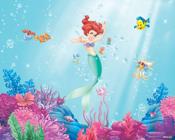 Little mermaid wall mural hot girls wallpaper for Disney ariel wall mural