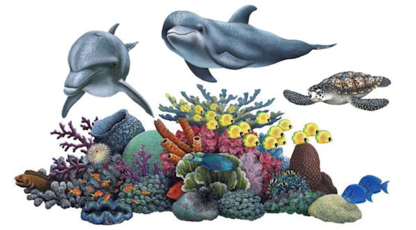 Creating a under the sea themed room wall sticker outlet for Coral reef mural