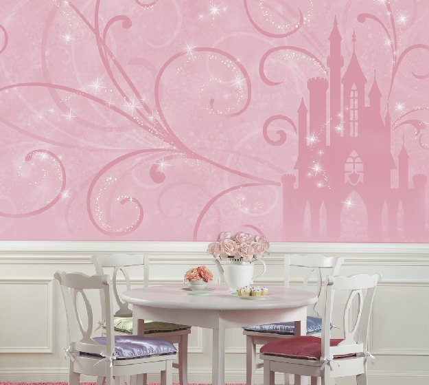 Lovely disney princess scroll castle mural