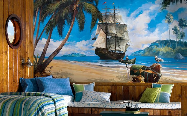 Cute pirate ship wall mural
