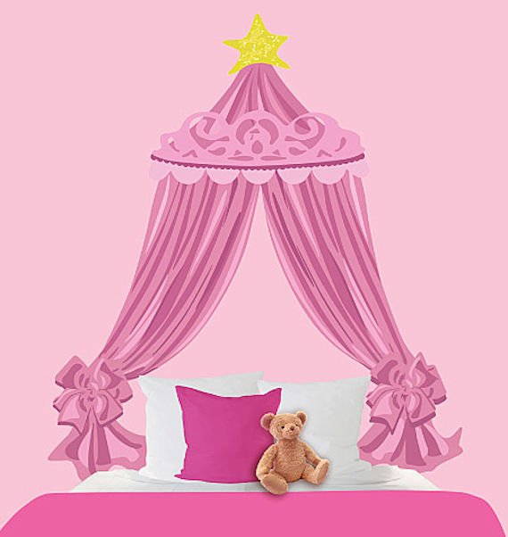 wallies-pink-canopy-headboard-decal