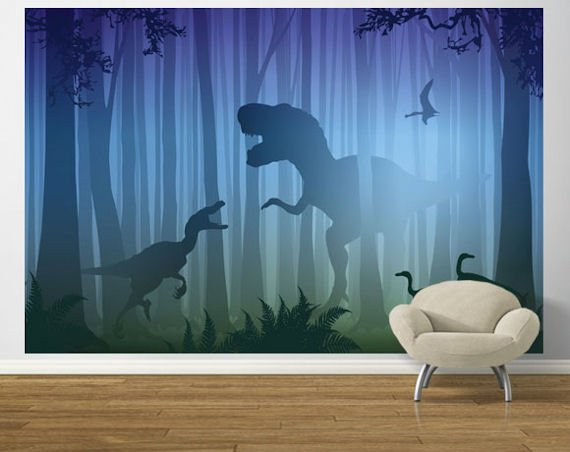 Cool T Rex in the woods mural