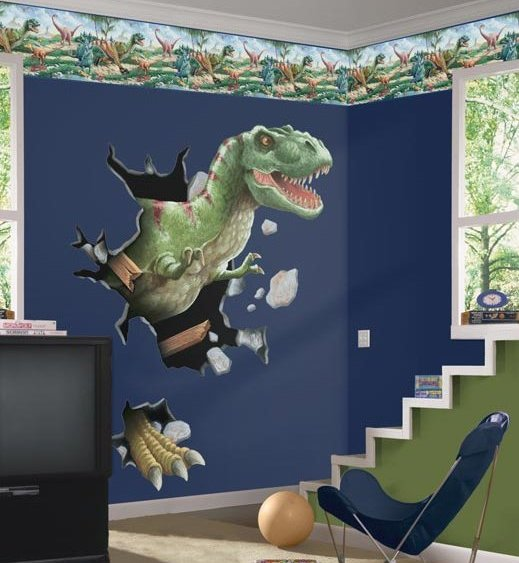 Cool T Rex through the wall sticker